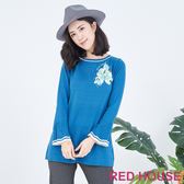 RED HOUSE-蕾赫斯-花朵喇叭袖針織衫(共兩色)