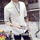 夏季韓版薄款男士修身七分袖潮流帥氣百搭襯衣Sq2935 『美鞋公社』