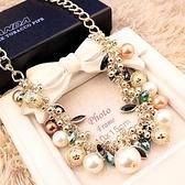 毛衣掛鏈 韓國彩色寶石珍珠水晶項鏈韓版夸張鎖骨鏈韓國飾品項鏈女配飾項鏈 韓菲兒