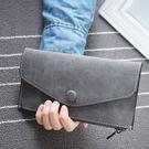 【TT】零錢包韓 磨沙 可愛小圓扣信封式皮夾 手拿包 手機包 長夾 錢包 卡包