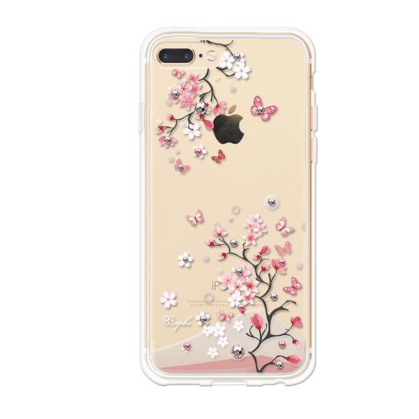 apbs iPhone 8 Plus/iPhone 7 Plus/iPhone 6s Plus 5.5吋施華彩鑽防震雙料手機殼-日本櫻