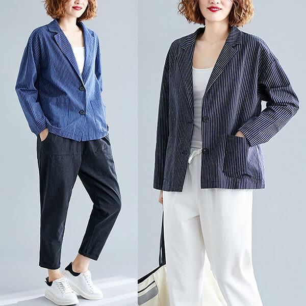棉麻 質條紋顯瘦西裝外套-多尺碼 獨具衣格