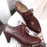 女士中跟鞋工作鞋尖頭深口系帶真皮鞋粗跟大碼英倫風女鞋【邻家小鎮】