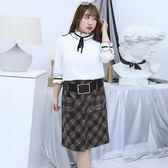 中大尺碼~氣質格子布短裙(XL~4XL)