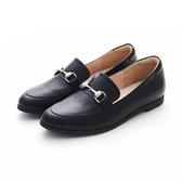 MICHELLE PARK 春夏新時尚英倫復古風真皮金屬馬銜釦平底鞋-黑色