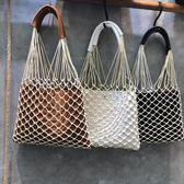 網編提袋 編織網兜單肩包鏤空時尚手提購物袋沙灘漁網包 綠光森林