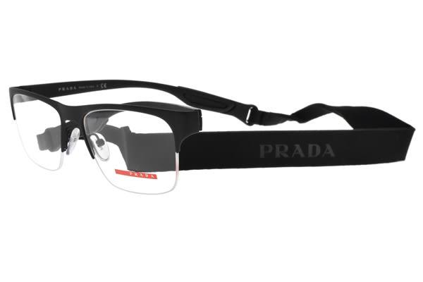 PRADA光學眼鏡 VPS55F DG01O1 (霧黑) 時尚綁帶半框款 眼鏡框 # 金橘眼鏡