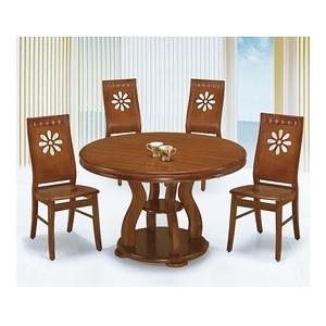 【MUNA 家居】4尺柚木色圓餐桌(1485)(1桌6椅)
