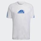 Adidas ADICOLOR 男裝 短袖 慢跑 訓練 吸濕排汗 拼接 白藍【運動世界】H28801