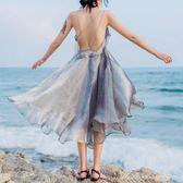 吊帶仙女裙海邊度假露背洋裝巴厘島沙灘裙女 顯瘦波西米亞  蜜拉貝爾