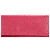 Longchamp Le Foulonne素面荔枝紋皮革壓釦長夾(桃紅色)480803-018