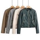 風衣 M45特價夏新 女立領朋克純色長袖個性短款皮衣外套大碼 聖誕裝飾8折