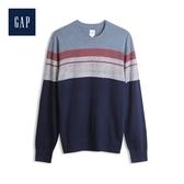 Gap男裝活力撞色條紋圓領針織衫528076-穀倉木紅
