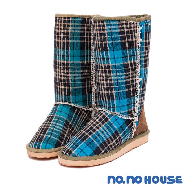 雪靴 英式經典格紋拼接雪靴(藍) * nonohouse【18-6580b】【現貨】