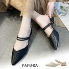 PAPORA尖頭低跟穆勒跟涼鞋K7772黑色/米色(偏小)