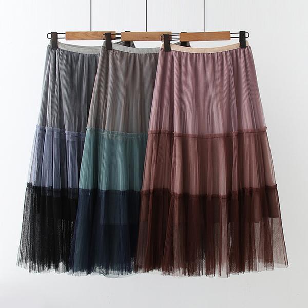 *ORead*文藝氣質垂感高腰拼接網紗半身裙(3色F碼)