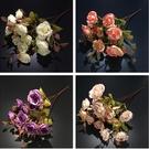 仿真玫瑰仿真飾品田園風擺件絹花假花裝飾人造仿真花插花花藝 8號店WJ