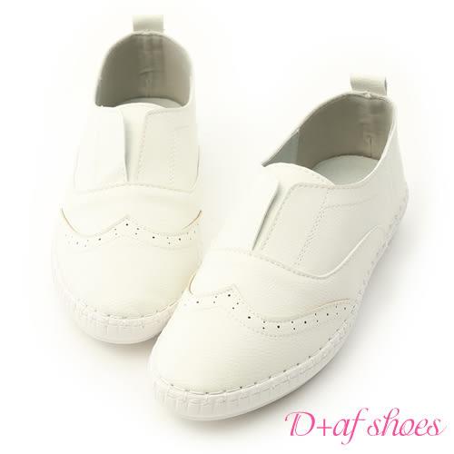 小白鞋 D+AF 純白生活.超軟縫線底無綁帶小白鞋*白