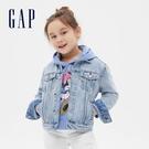 Gap女童 時尚水洗翻領開襟牛仔外套 590582-淺色水洗
