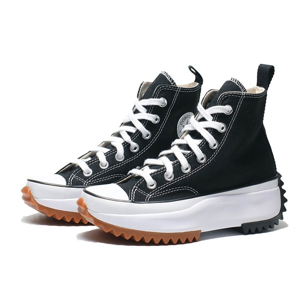 CONVERSE 帆布鞋 RUN STAR HIKE 穿搭 高筒 增高 膠底 黑 白 女 (布魯克林) 166800C
