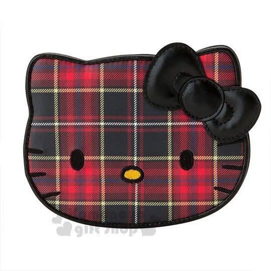〔小禮堂〕Hello Kitty Black 皮質造型折疊鏡《紅黑》立鏡.蘇格蘭紋生日慶 4901610-06336