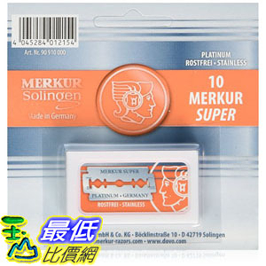 [美國直購] Merkur 065946999559 刮鬍刀刀片 Double Edge Safety Razor Blades - 10 Count