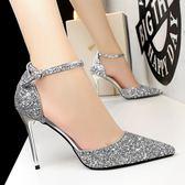高跟鞋 夏季女涼鞋水晶亮片尖頭高跟鞋細跟淺口一字扣帶鏤空單鞋