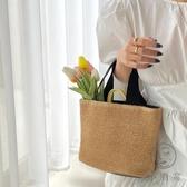 復古手提包草編包女海邊沙灘度假百搭編織包【小酒窩服飾】