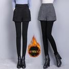 假兩件褲裙 帶裙子秋冬加絨加厚假兩件打底褲女外穿踩腳顯瘦保暖包臀裙褲一體 交換禮物