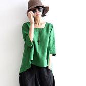 棉麻女裝襯衫民族風復古文藝范中袖寬鬆休閒亞麻上衣 格蘭小舖