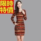 洋裝-毛呢針織長袖羊毛修身女連身裙2色65r10【巴黎精品】