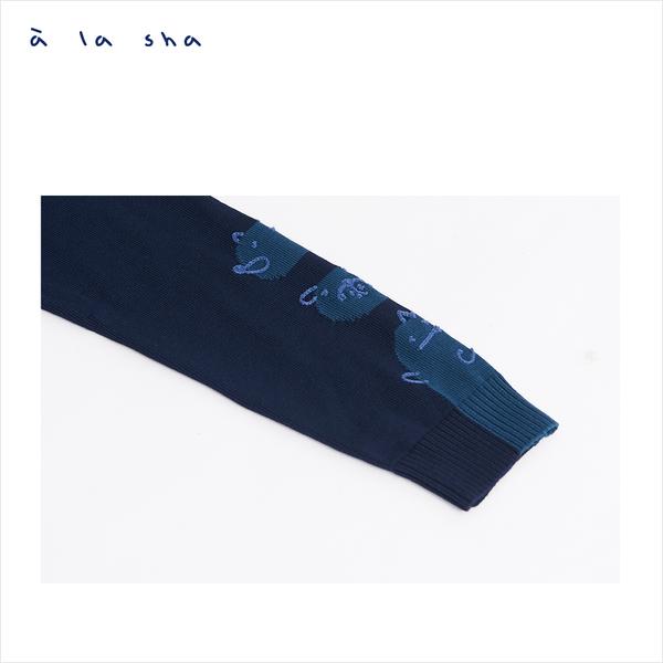 a la sha 動物配色長版針織外套