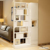 現代簡約家具屏風隔斷客廳門廳屏玄關隔斷柜置物架白鋼琴烤 qf25408【pink領袖衣社】