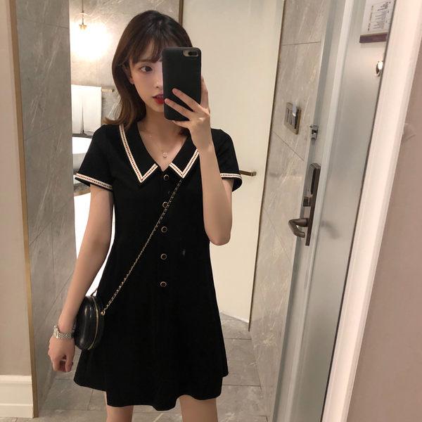 VK旗艦店 韓系氣質顯瘦收腰赫本風短袖洋裝
