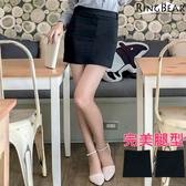 窄裙--OL首選完美優雅素色滑料隱形拉鍊後雙口袋高腰窄裙(黑XL-7L)-Q57眼圈熊中大尺碼★