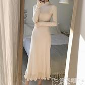 針織洋裝配大衣的長裙子女春秋裝修身長款過膝內搭毛衣針織連身裙 嬡孕哺