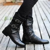 秋冬季高筒皮鞋男靴加棉保暖中筒軍靴英倫韓版皮靴尖頭潮流馬丁靴 依凡卡時尚