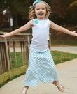 美國RuffleButts Sky Blue Striped Maxi Skirt -水藍條紋長裙
