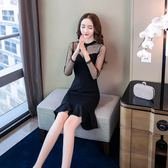 長袖小禮服夏季新款蕾絲拼接修身氣質性感顯瘦中長款開叉一步包臀連身裙1820GT4F-413-C依佳衣