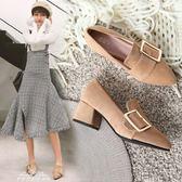 高跟鞋女鞋秋韓版百搭小清新尖頭中跟粗跟春季單鞋女春鞋『夢娜麗莎精品館』