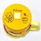 小熊維尼 蜂蜜鬆餅 含蓋 磁器 馬克杯 正版 日本進口 370ml