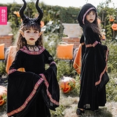 萬聖節服飾 萬聖節兒童服裝黑色小惡魔女巫吸血鬼長裙巫師長袍魔法師長袖cos