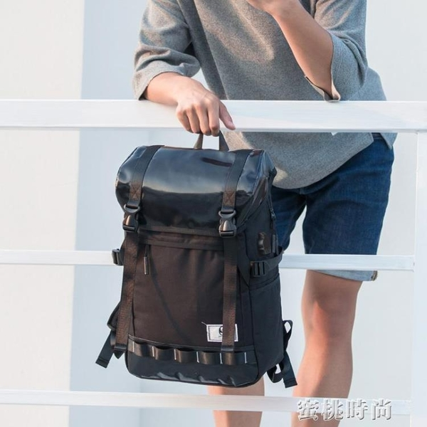 新款時尚休閒大學學生書包多功能反光旅行青年男士背包雙肩包男潮 『蜜桃時尚』