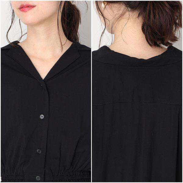 LOWRYS FARM素面V領襯衫開襟落肩縮腰短袖長版洋裝-二色