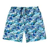 沙灘褲男士大碼休閒運動五分褲夏天海邊度假時尚速干寬鬆潮花短褲