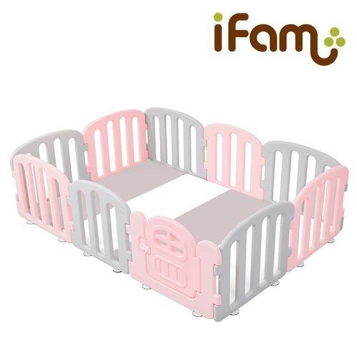 韓國 Ifam 簡約風圍欄套組-粉紅灰圍欄+灰白綠地墊(IF-137-1PG+IF-079PM)[衛立兒生活館]