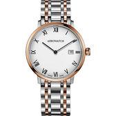 AEROWATCH Heritage系列尊爵時尚石英腕錶-白x雙色版/40mm A21976BI01M