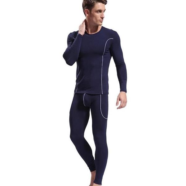 ×長袖×男子內衣套裝 上衣褲 透氣 舒適 透氣 竹纖 薄款 衛生衣 衛生褲 多色可選 WJ_3004-TZ