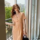 素色高腰洋裝中長裙(二色S-XL可選)/設計家 ZY138