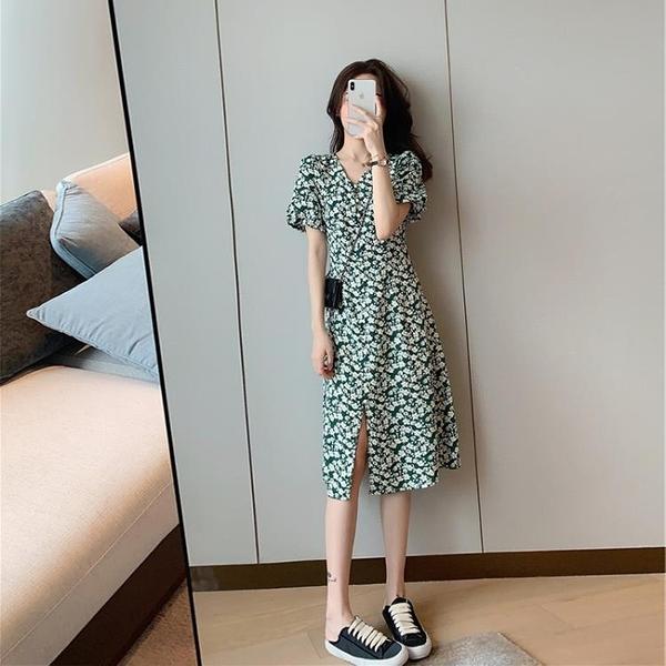 碎花洋裝 春夏季2021年新款小個子溫柔風可甜可鹽裙子法式顯瘦綠碎花連身裙 晶彩